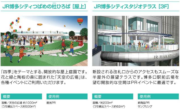 JR博多シティツバメの杜ひろば(屋上)・JR博多シティスタジオテラス(3F)